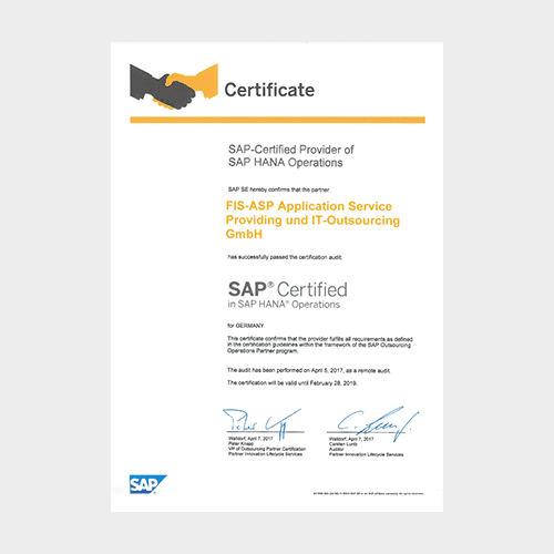 FIS-ASP ist SAP-Certified Provider of SAP HANA Operation