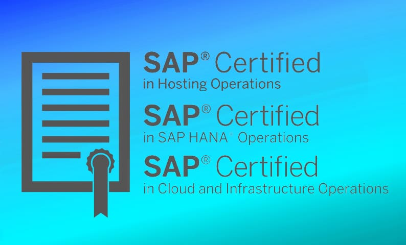 Zertifizierung für SAP Hosting, SAP HANA Operations sowie Cloud and Infrastructure Operations